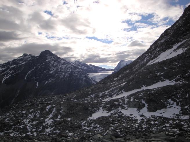 glacier et sommets depuis le col des Otanes