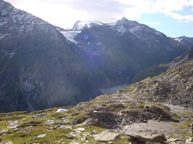 glacier, sommet et barrage mauvoisin